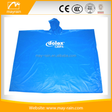 blue pe emergency disposable rain poncho long pvc poncho for promotion