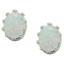 Latest design sterling silver oval shaped gold crown setting opal stud earrings