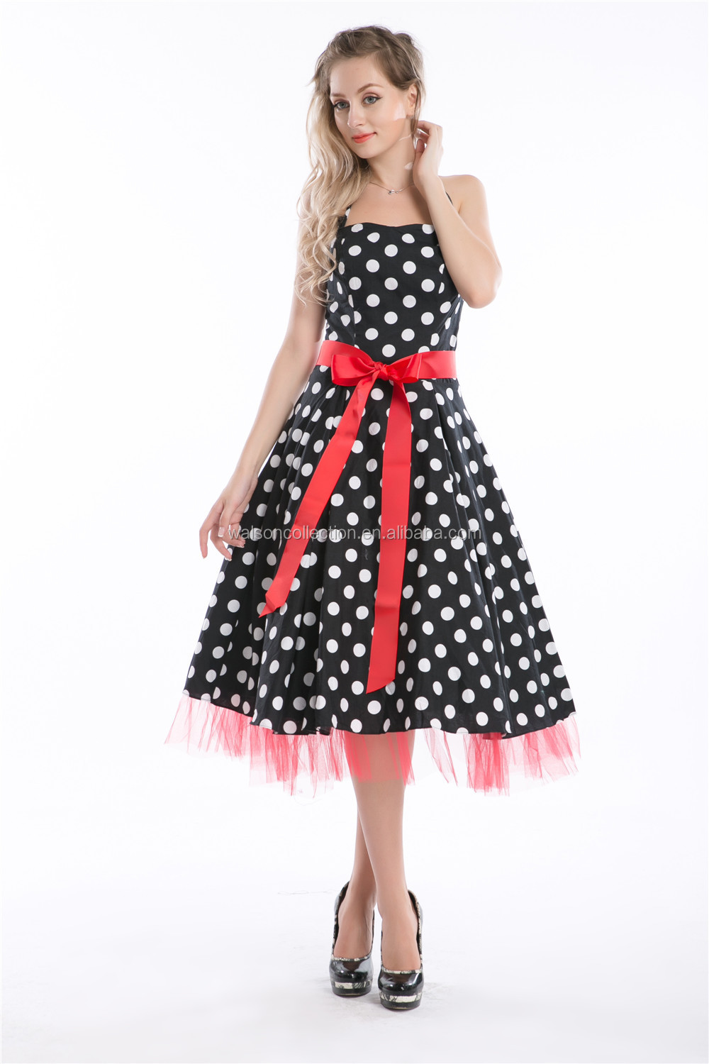 Spring Summer Women Elegant Pearl Waist Halter Dress Big Swing Skirt Color with red dot with red free belt