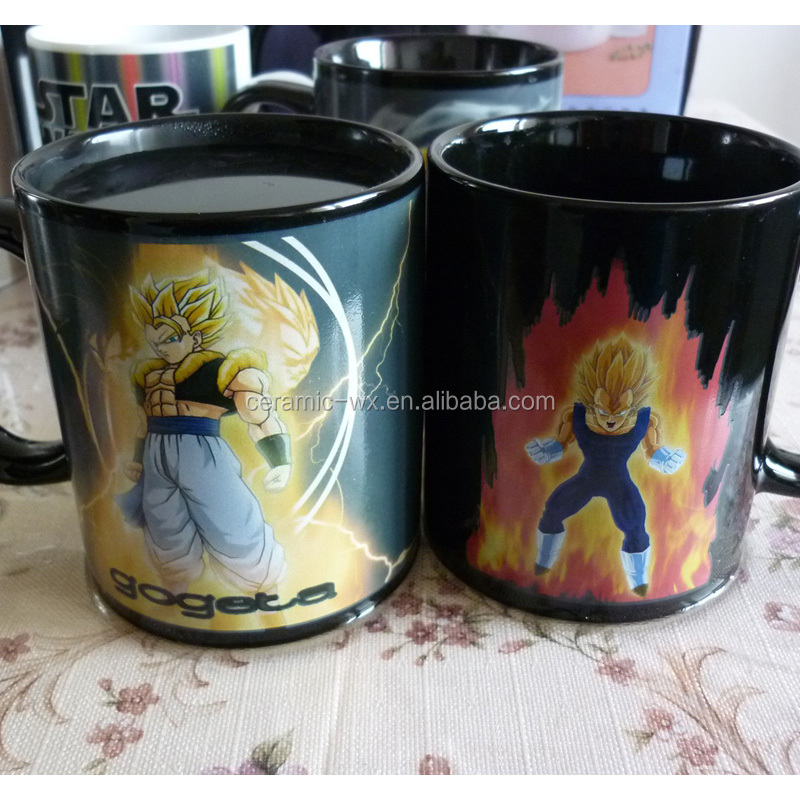 Heat sensitive color changing personalised corporate coffee mugs with Dragon Ball