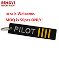 Amazon top seller Remove Before Flight Jewelry Safety Tag Embroidery Pilot Key Ring Chain for Aviation Gifts Luggage Tag Label