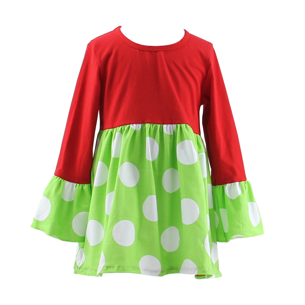 wholesale children's boutique clothing dress christmas girl long sleeves clothing baby dress