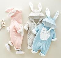 Newest warm thickening cotton-padded hooded jacket baby boys and girls jumpsuits, infant galesaur one-piece climb romper