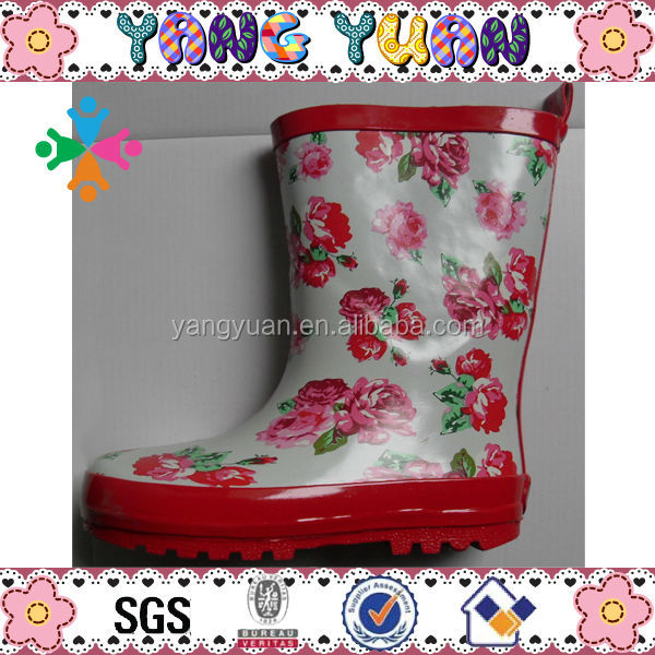 Rose Pattern Rain Boot Rubber Wellies for Girls