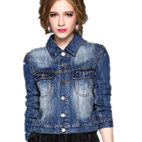 Fall Clothing for Women Women ladies new fashion plain casual washed crop denim short jackets