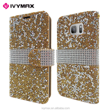 IVYMAX Luxury Glitter Bling Crystal Diamond PU Leather Wallet Case For Samsung Galaxy S7 Card Slots Cover