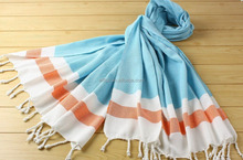 China Supplier 100% Cotton Turkish Peshtemal Towel Striped Design Beach Towel, Table Cloth