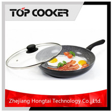 Pressed aluminum non stick coating granite stone fry pan