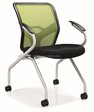 Movable Metal Frame Office Chair Mobile conference Chair with armrest