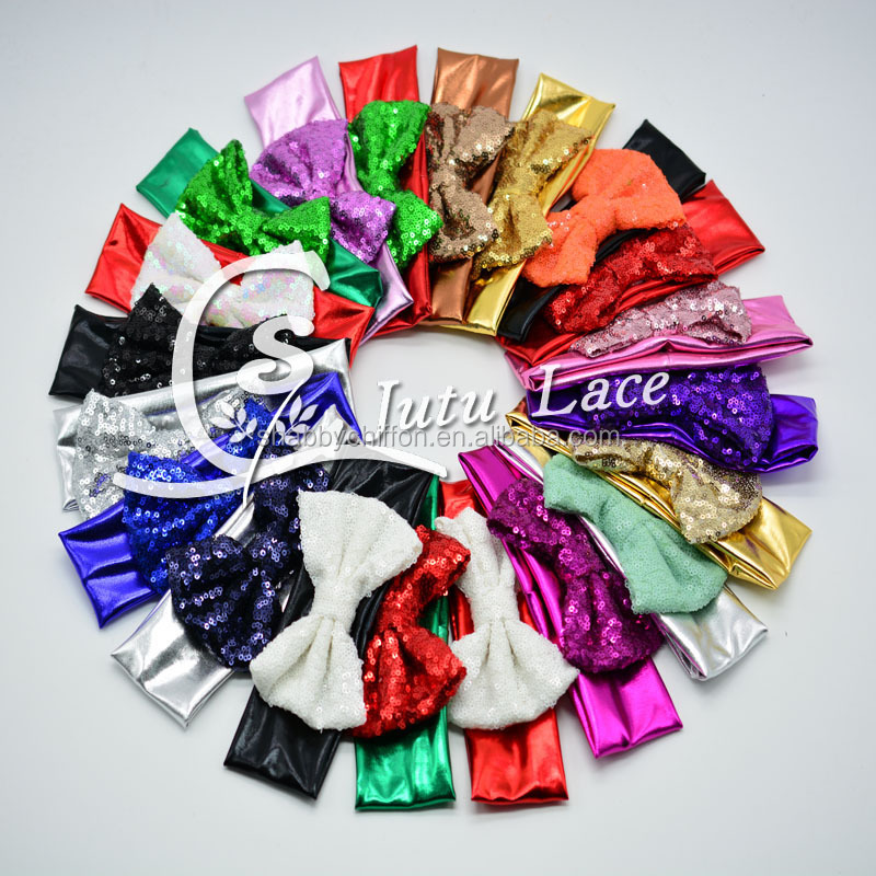 20 colors sequin bow Elastic Headband, strength Metallic messy hair band with sequin bow tie