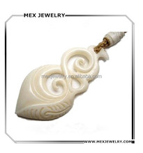 Religious hand carved fish hook genuine ox cow bone pendant