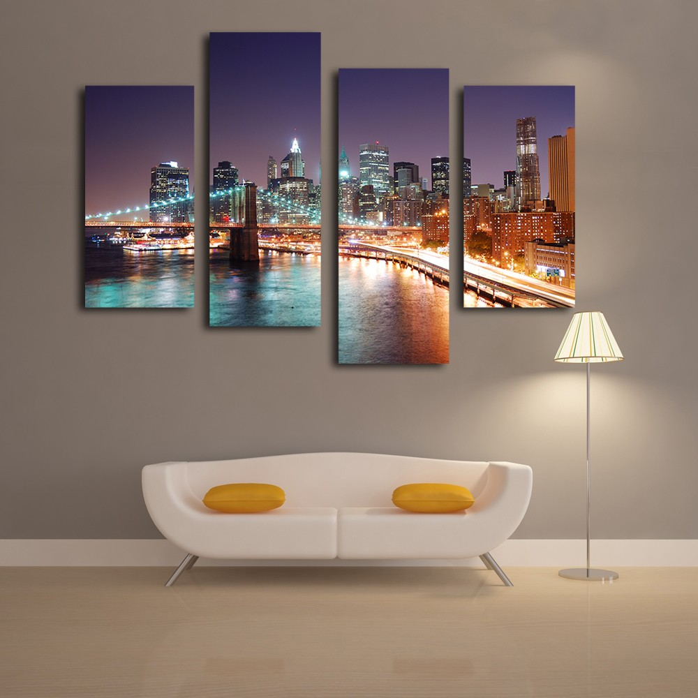 Beautiful city night picture home decor canvas prints