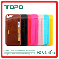 Support Leather Wallet with card in back for iphone 6 6s plus tpu pc mobile phone case