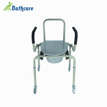 Lightweight Easy To Move Bedside Commode Seat Plastic Toilet Chair With Castor