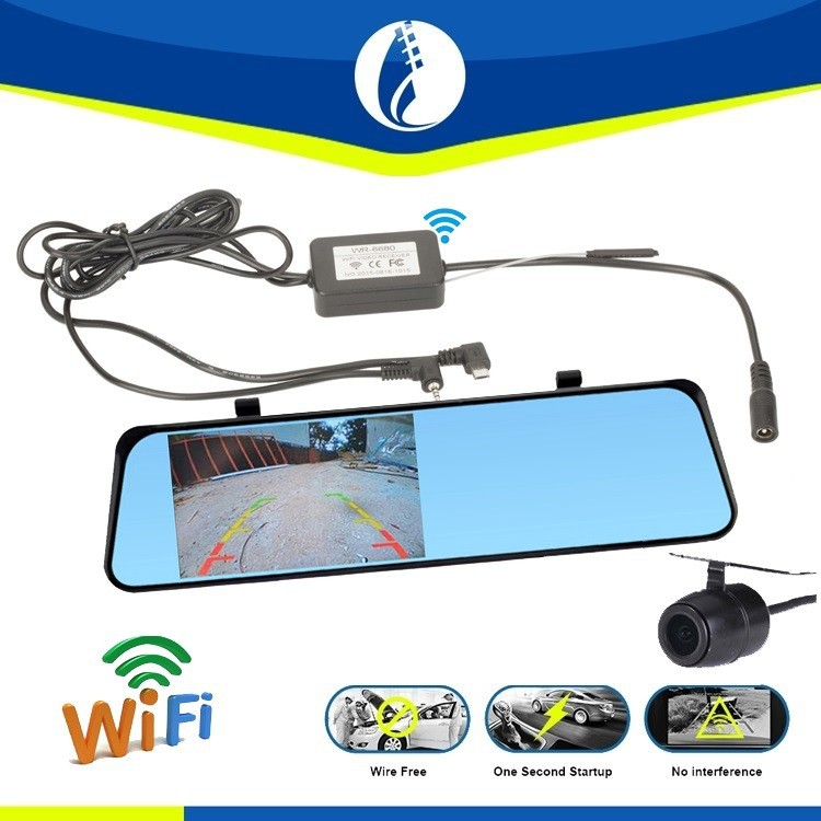 4.3inch Srceen wire free 1080P car wifi wireless HD wide angle DVR reversing dual camera with rear view mirror