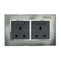 Certified Bseed Brushed Steel Double 13A power socket