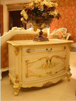 French rococo style luxury white gilded small tv cabinet for What is the other name for the rococo style