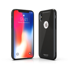 New Coming Luxury Shockproof TPU Frame PC Tempered Glass Back Case Cover for Apple iPhone X