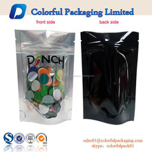 glossy laminated mylar zipper top stand up pouches with clear front window for food