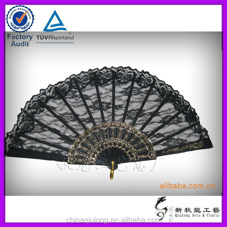 nylon foldable hand fans lace spanish fans 3d picture nude hand fan