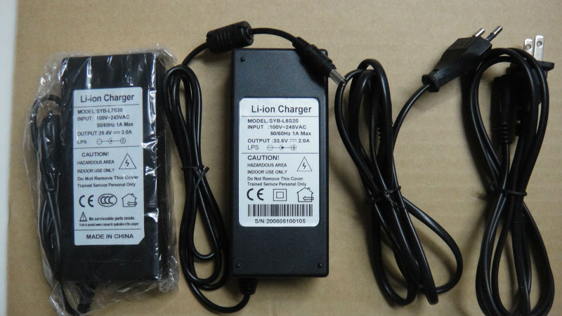 33.6V Li-ion charger rechargeable battery charger DC33.6V 2A