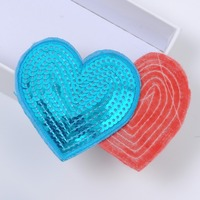 reversible colorful heart sequin patches custom countries custom iron patches