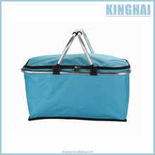 Blue foldable shopping basket with double handles