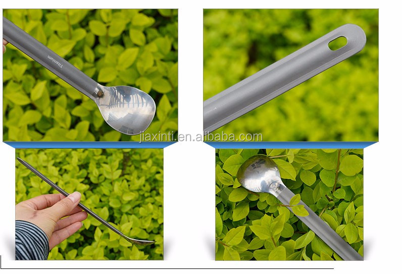 Long Handle Titanium Spoon with Polished Bowl