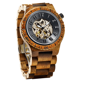 Wholesale wood watch custom Skeleton Automatic Mechanical men wood luxury Watch