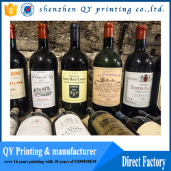 China private wine labels, adhesive sticker for wine glass bottle