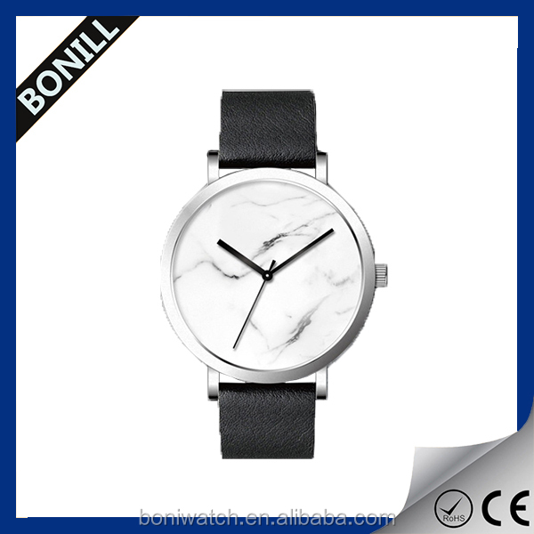 Bonill factory manufacturer leather watches marble stone watch wrist watch