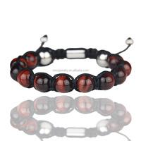 Men Custom Rope Bracelet, Red Tiger Eye Bead Bracelet MJB008