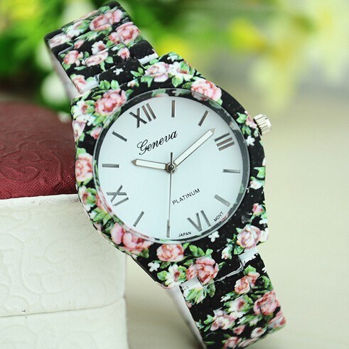 Rose Gold Women's Fashion Watches Analog Flower watches Casual Fashion Wristwatch Leather Strap watch Discount Crystal