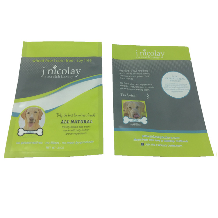 Free sample custom size plastic packaging bag for pet dog food with clear window
