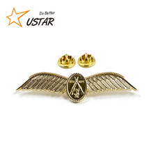 Factory directly custom 3d metal model wing pins metal, gold plated lapel pins