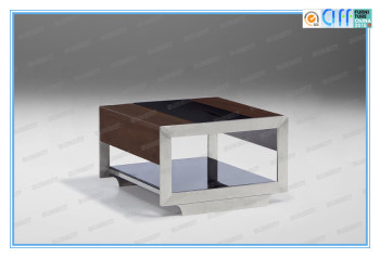 modern wood sofa glass side table with stainless steel legs SK1317B