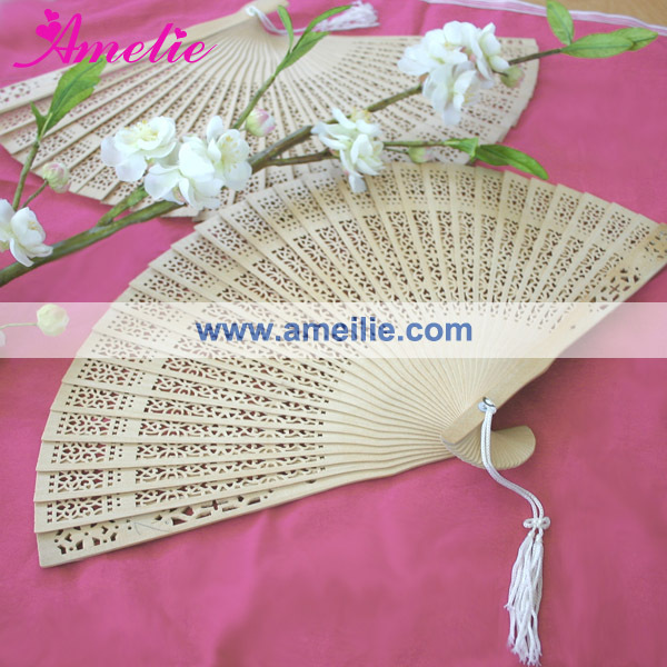 AP03176 Wooden Natural Color Fan 2014 Wedding Favor
