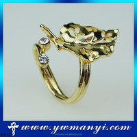 Modern Times Brief Alloy Maple Leaf Hot Selling Leaf Shape Jewelry Ring With Wholesale R0222