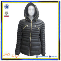 2014 Fashion women quilted coat with hood