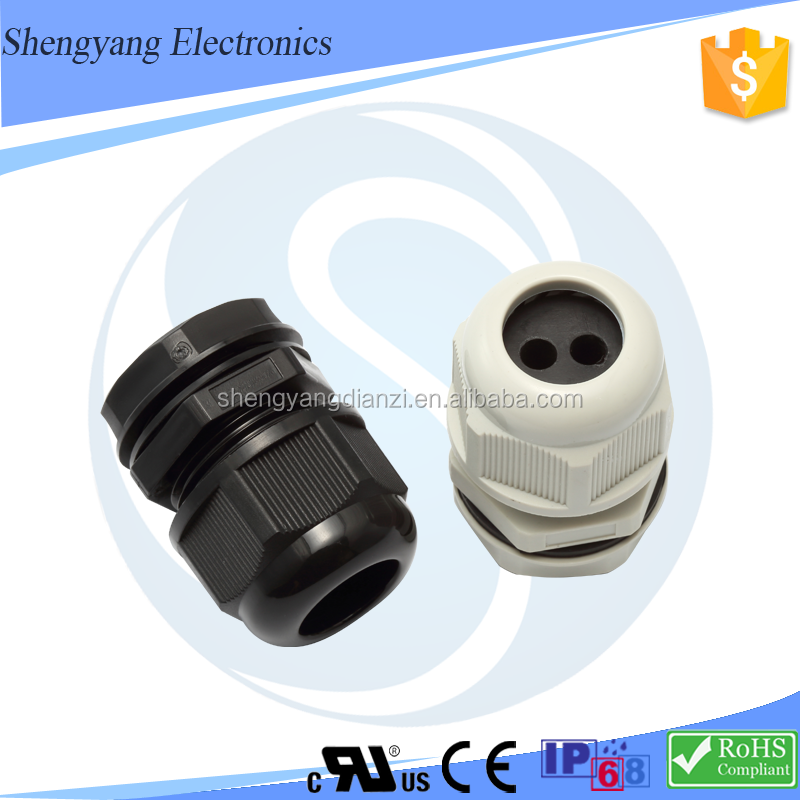 Nylon Multi Hole Metric PG G NPT Thread Cable Gland Multiple Insert Cable Gland 2 Hole <strong>G1</strong> 1/4