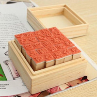 25pcs Happy Life Diary Wooden Stamp Set DIY Scrapbook Rubber Wooden Stamp