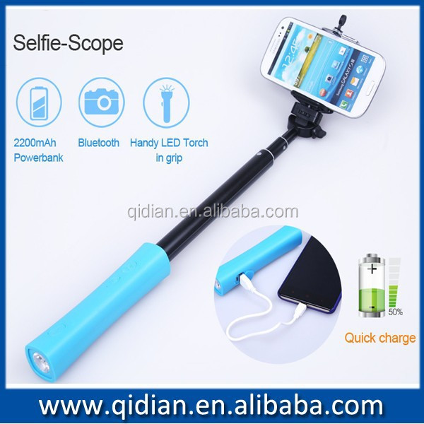 best selling popular selfie stick with power bank monopod with led tourch and. Black Bedroom Furniture Sets. Home Design Ideas