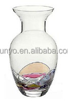 Handmade Lead-free hand paitned clear Glass Vase