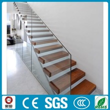 fancy interior hard wood floating stairs price with glass railing