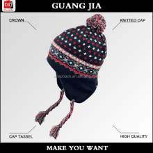 custom fold up fashion winter earflap and tassel baby knitted cap