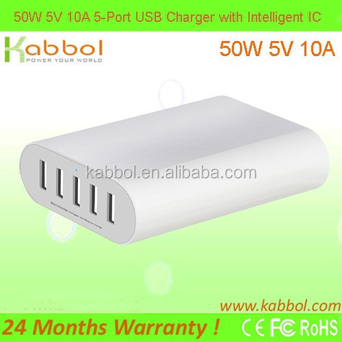 5V 50W 5-ports desktop USB charger with PowerIQ technology used in cafe shop hotel and small office