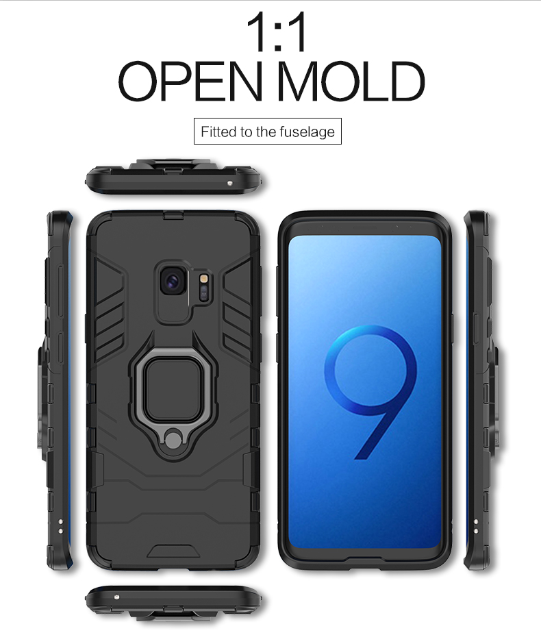 Magnetic Attcation Finger Ring Kickstand Shockproof Hard tpu pc mobile phone case for samsung galaxy s9 case