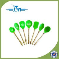 hot selling popular wood-handles silicone kitchen utensils