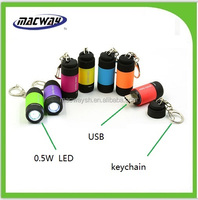 USB rechargeable keychain mini flat led flashlight for gift
