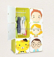 DIY 6 cubes innterlocking plastic environmental cartoon wardrobes for baby bedrooms FH-AL022-6